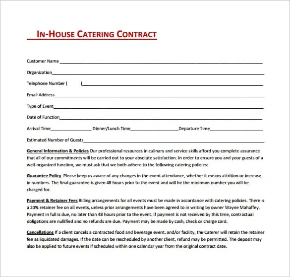 Contract For Catering Services Template  Hlwhy