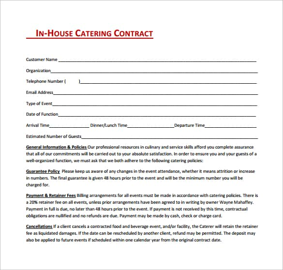 Contract For Catering Services Template - Hlwhy