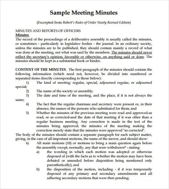 Meeting Minutes Templates