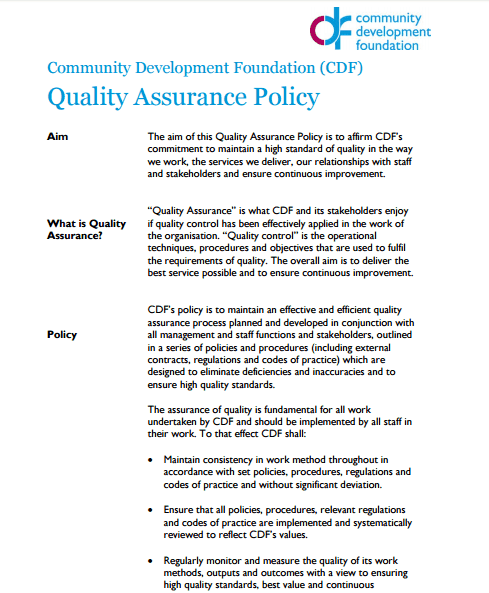 quality assurance template