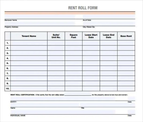 Rent roll templates word excel samples rent roll template 40 pronofoot35fo Image collections