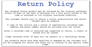 return policy templates