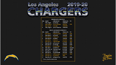 2019 2020 Los Angeles Chargers Wallpaper Schedule