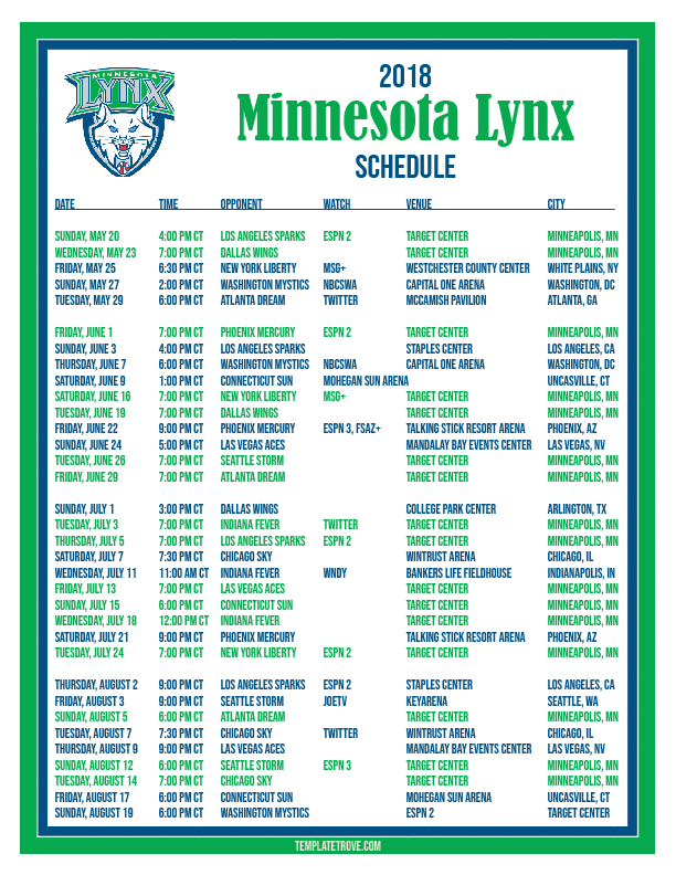 Printable2018 Minnesota Lynx Basketball Schedule