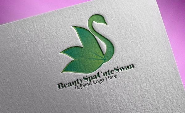 Beauty Spa Cute Swan Logo