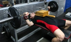 Australian School Bench Press Record Holder demonstrating a Board Press