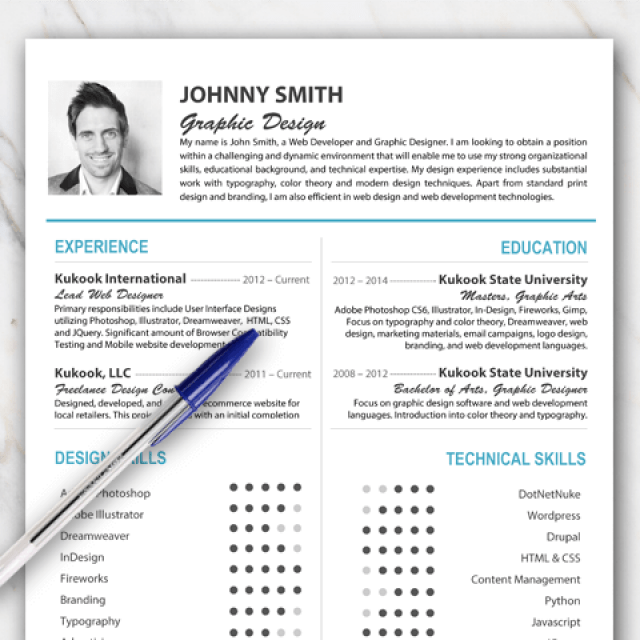 Free Resume Template For Word With Turquoise And Orange Color Palette