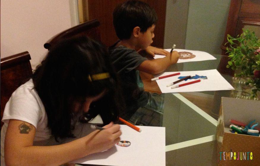 Complete o desenho - um convite à imaginação - Joao e Carol