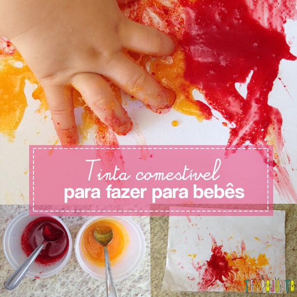 Atividade para bebês de 6 a 12 meses – pintura com tinta comestível