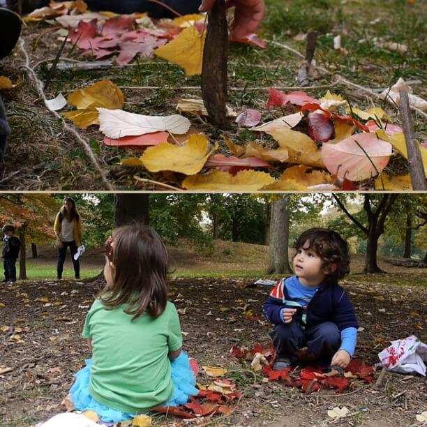 5 brincadeiras incríveis de voar para fazer com as crianças - tapete de folhas