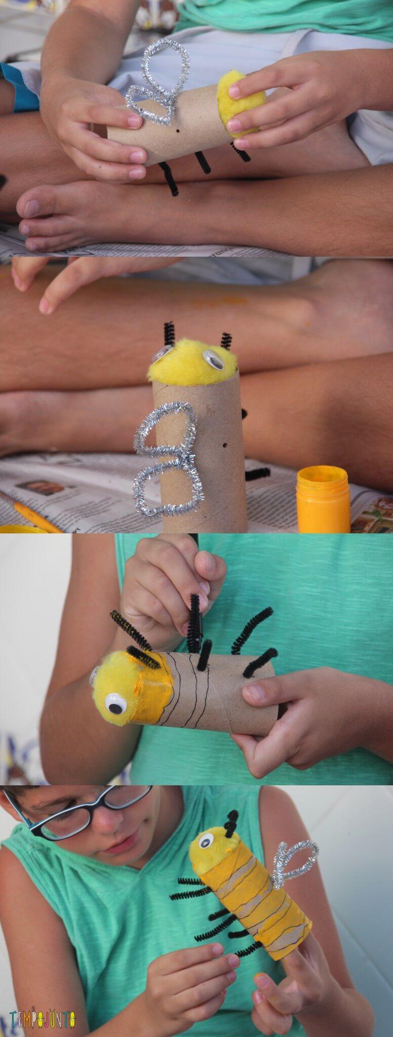 ideias criativas com rolo de papel higiênico - A abelha do Pedro