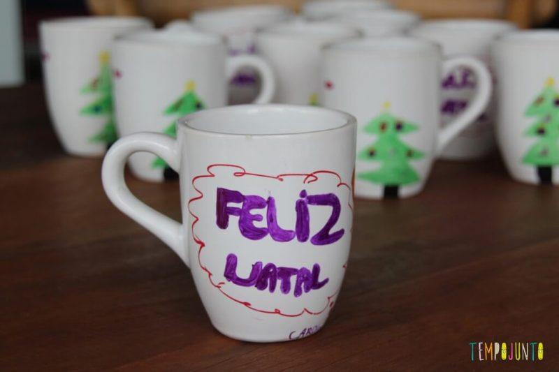ideias de artesanato de natal para fazer em casa - caneca Feliz Natal