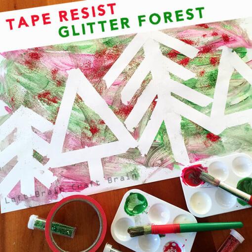 Tape-Resist-Glitter-Forest-Left-Brain-Craft-Brain-650-510x510