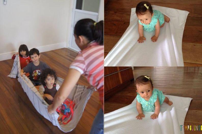 Brincadeiras para irmãos pequenos - brincando no lençol