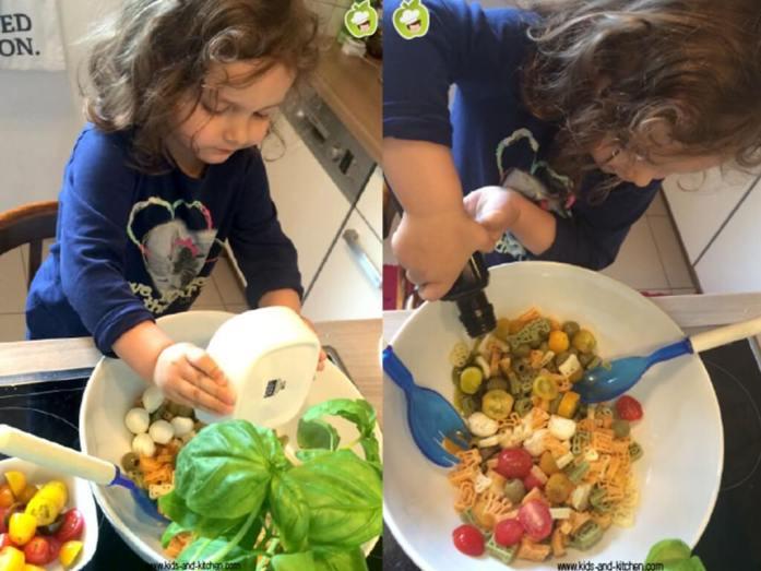 Brincando, comprando e provando saladas com crianças - lily preparando