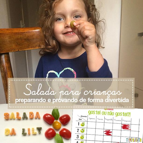 Criança na cozinha - comprando provando e brincando com salada