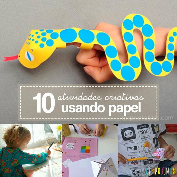 10 ideias de atividades criativas para crianças usando papel