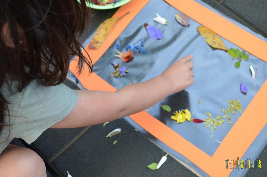 8 brincadeiras de artes ao ar livre - quadro de petalas