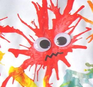 10 maneiras criativas de brincar de monstro - monstro de tinta soprada