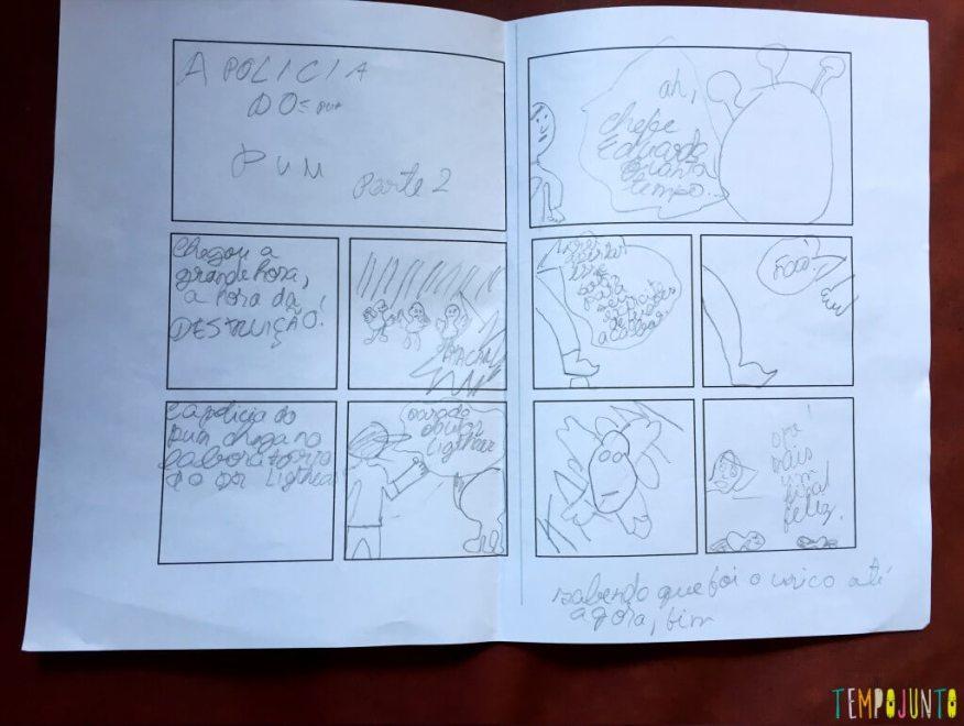 Como criar uma história em quadrinhos com as crianças - a policia do pum parte 2