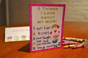 17 ideias criativas para o Dia das Mães - cartão o que eu amo na minha mae