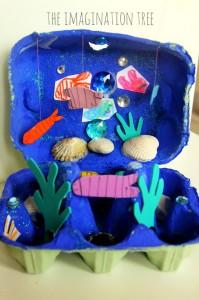 10 ideias de brinquedos caseiros com caixa de ovo - fundo do mar