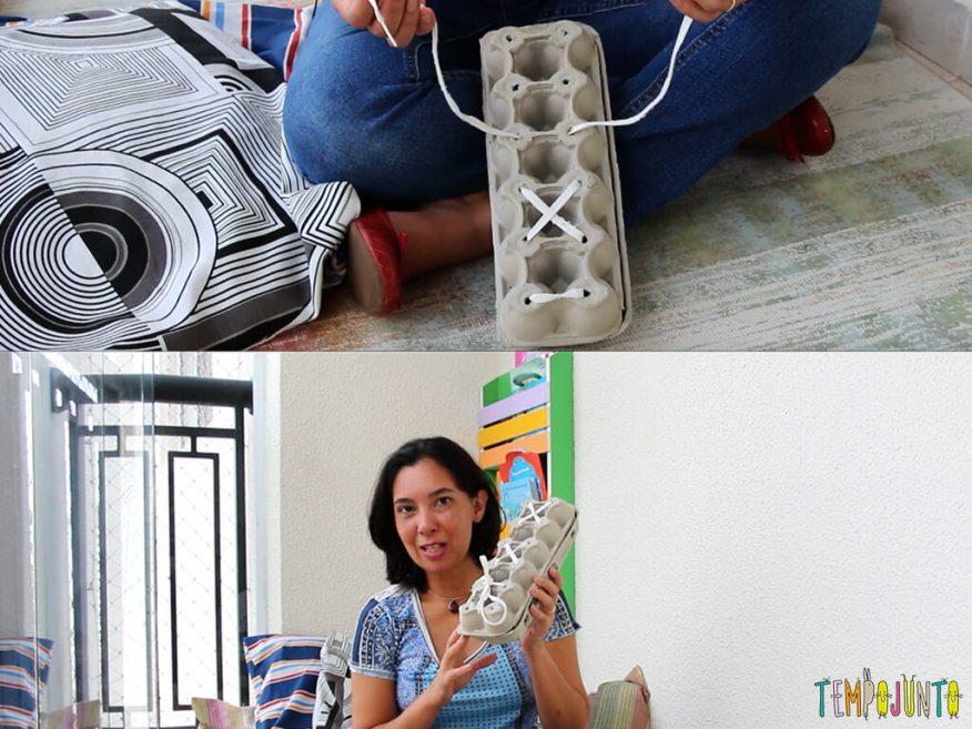 Brincar ajuda a aprender a dar o laço no cadarço - processo