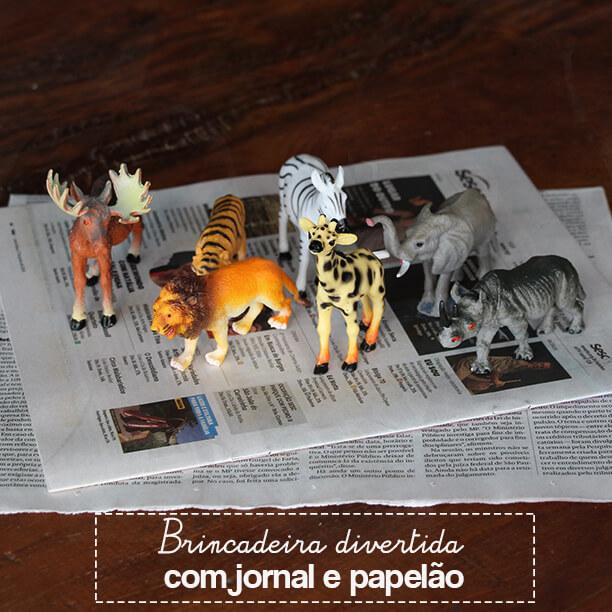 Brincadeira com jornal e papelão