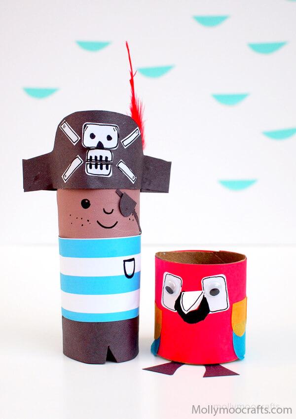 Mais 10 ideias de brinquedos com rolo de papel higiênico - pirata e papagaio