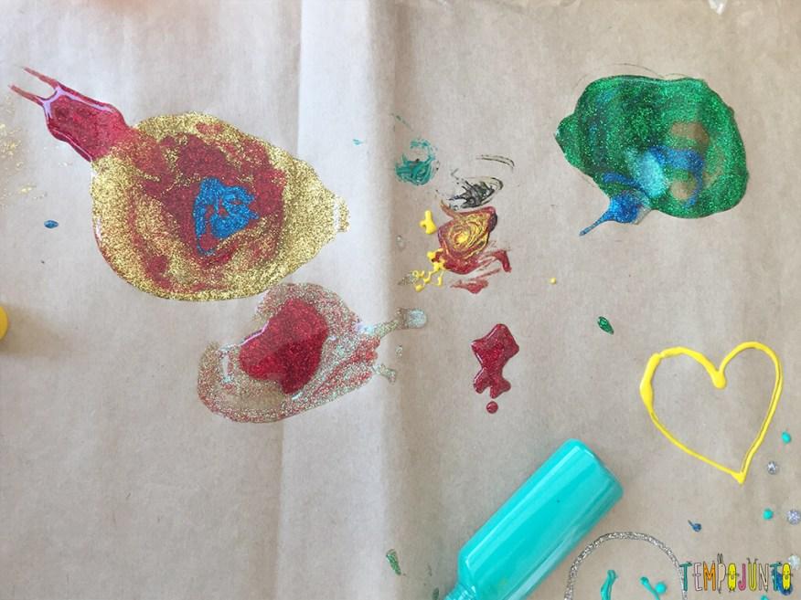 Arte com cola colorida - desenho pronto