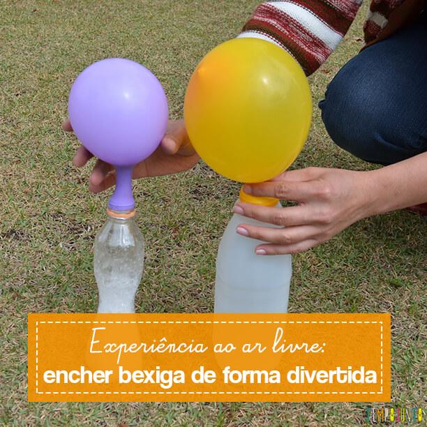 Experiência ao ar livre para encher balão de uma forma bem divertida