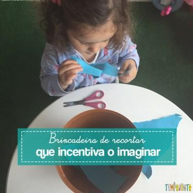 Brincadeira de recortar que incentiva o imaginar
