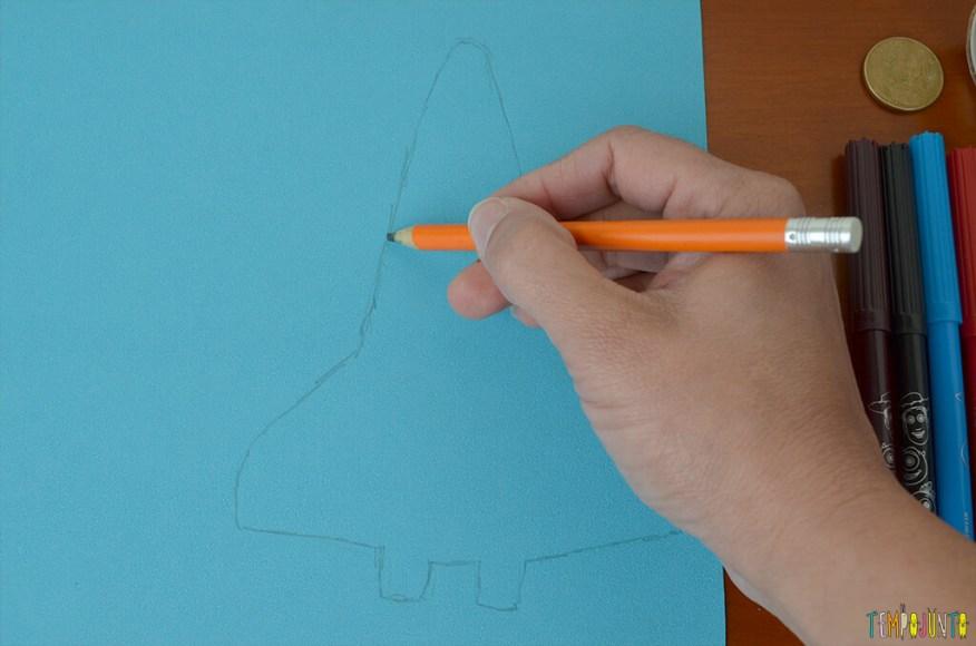 Um brinquedo caseiro super divertido feito com papelão e barbante - foguete desenhado
