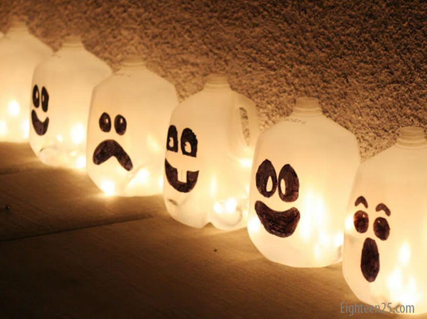 10 ideias para o halloween das criancas - luminaria de garrafa