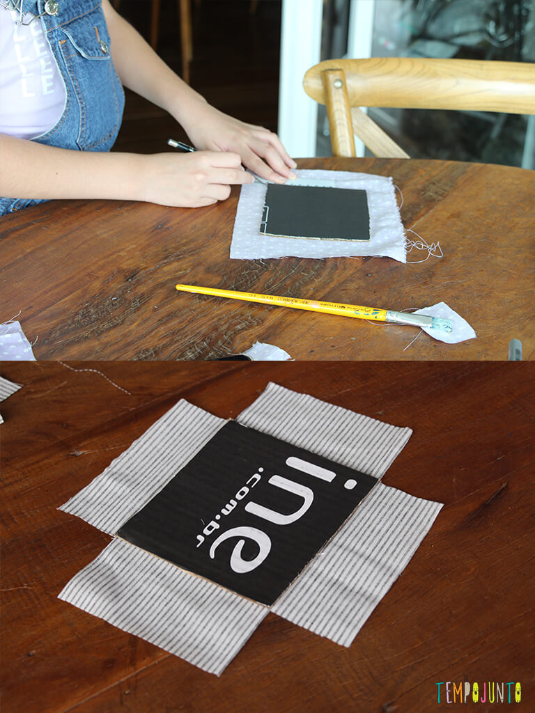 Mais uma sugestao de presente de final de ano_IMG_7422_7426_Colando o tecido com o papelao