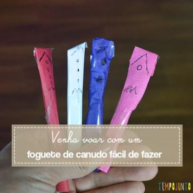 Foguete de canudo e papel é um brinquedo caseiro simples e que cabe na bolsa