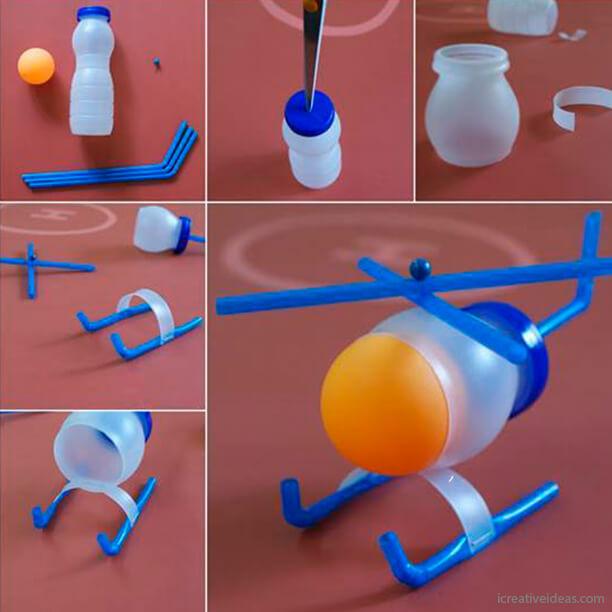10 ideias de brinquedos feitos com garrafas plásticas - helicoptero