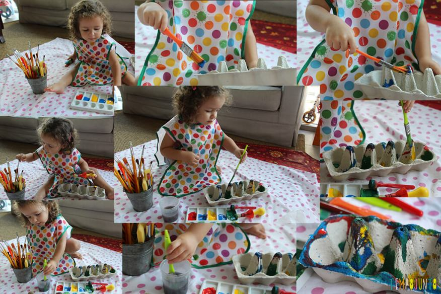 Presente de Páscoa feito pelos pequenos - gabi pintando a caixa