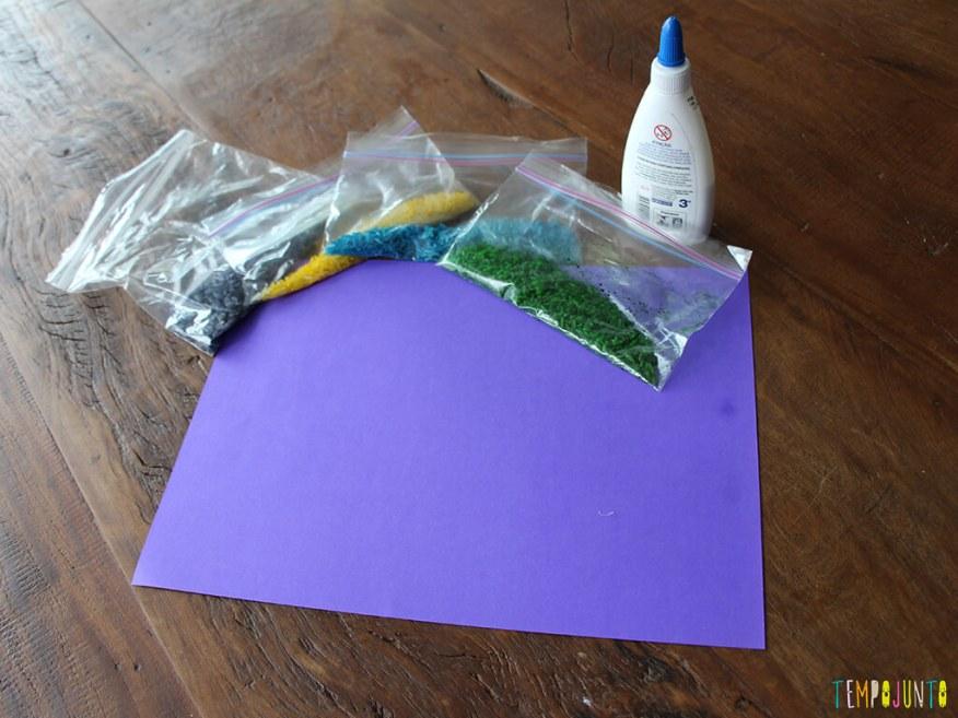 Mandala de arroz colorido - materiais