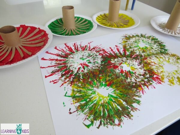 Fireworks-celebration-activity-painting-fireworks-with-paint-and-cardboard-rolls.