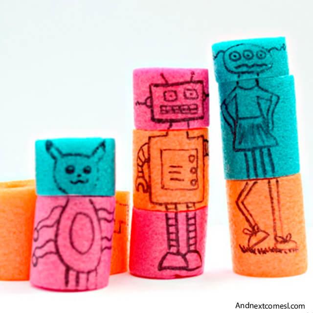 10 brinquedos caseiros para brincar em silêncio - blocos de espaguete