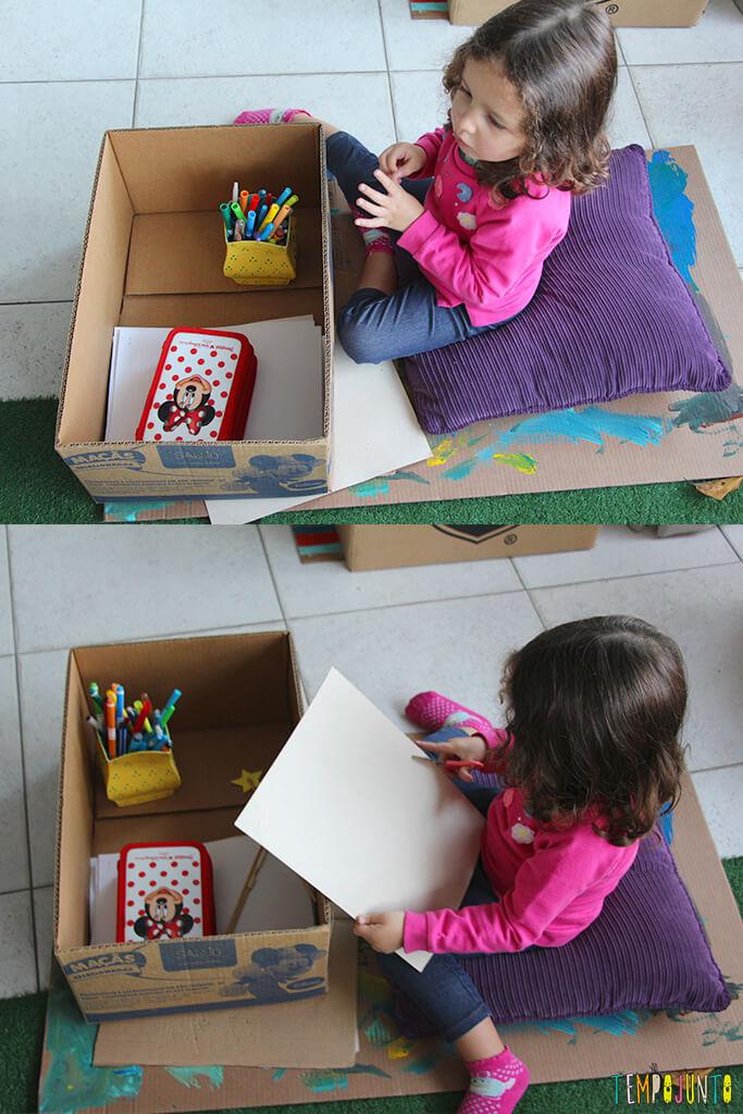 Atividade de artes para estimular a brincadeira de imaginação - gabi no seu tapete