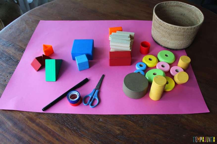 Atividade de raciocínio para crianças pequenas - materiais