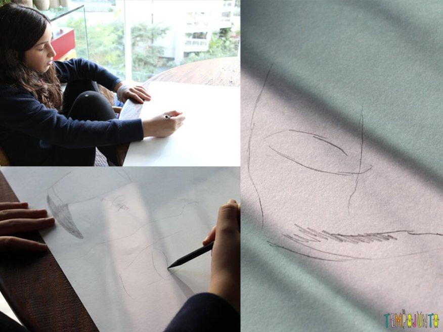 Brincadeira para ensinar a criança a desenhar_IMG_0230_montagem-do-desenho-cego-do-copo