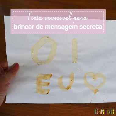 Tinta invisível para brincar de mensagem secreta
