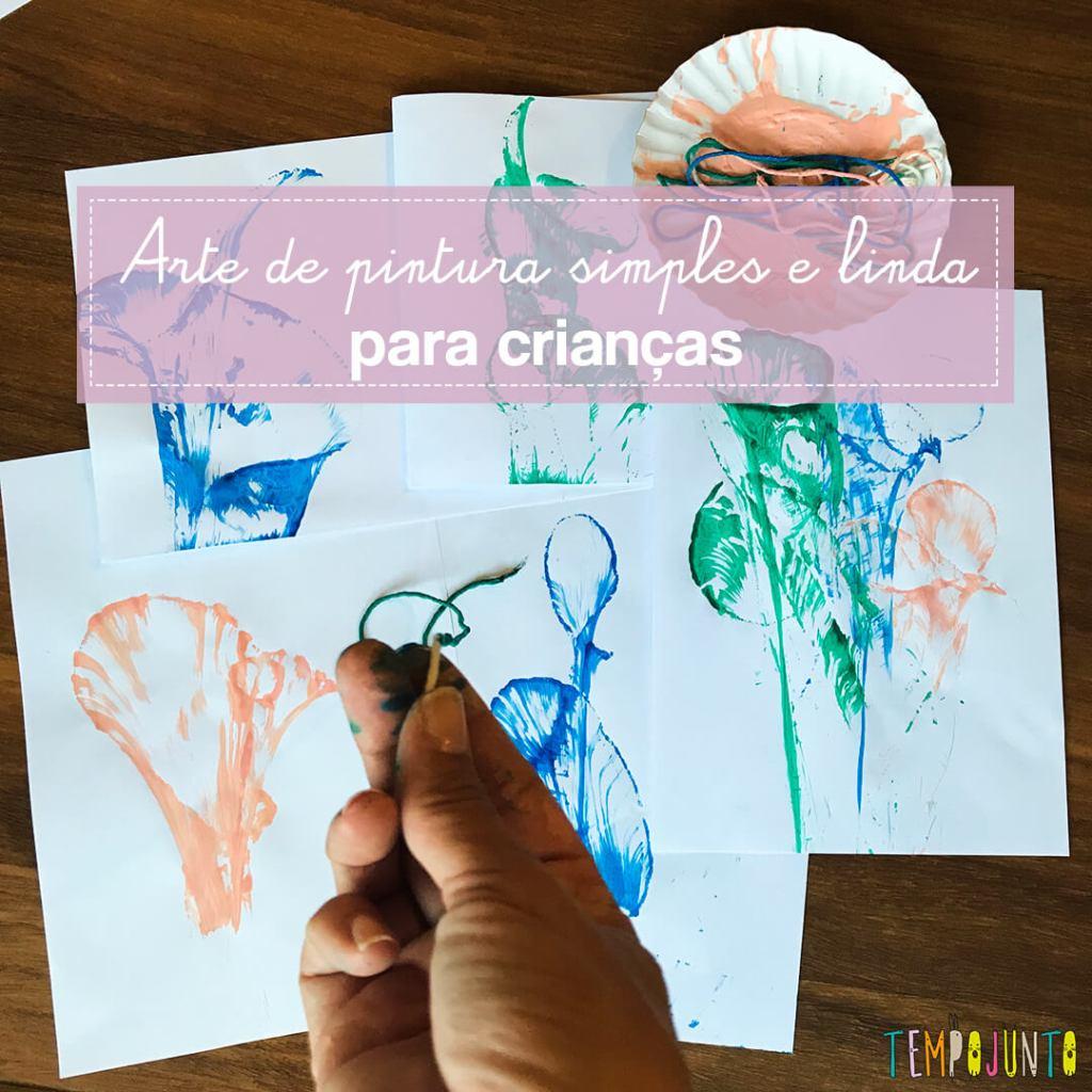 Pintura com barbante e tinta fácil para crianças