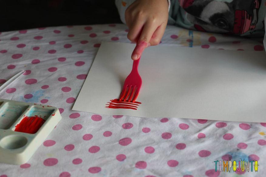 pintura com garfo detalhes