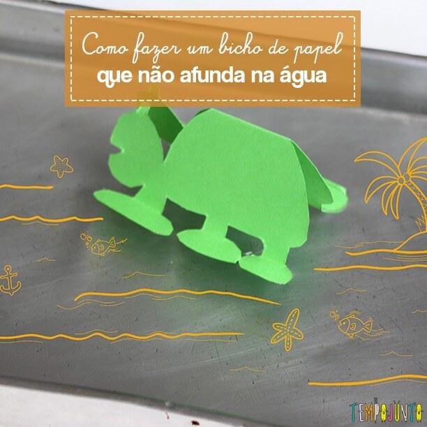 Experimento para crianças com papel e água