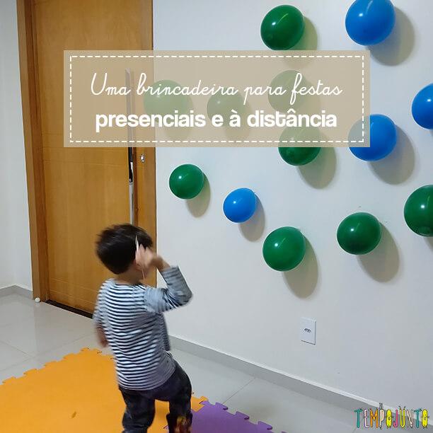 Balões ao alvo é uma brincadeira com bexiga ótima para um agito dentro de casa