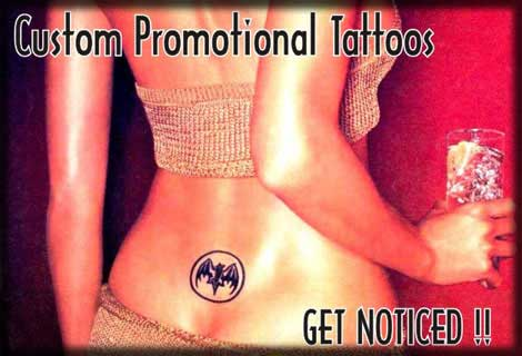 Custom Temporary Tattoos, Custom Promotional Tattoos, Company Logo Body